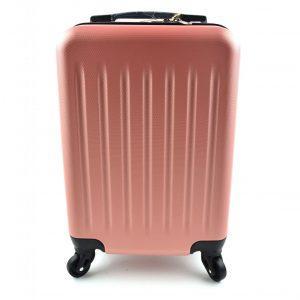 potovalni kovcek pink barve spredaj kono