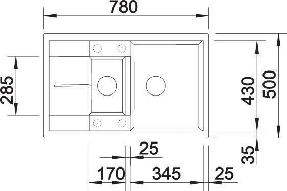 Pomivalno korito METRA 6 S Compact mere 1